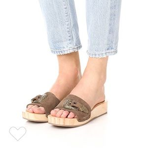 Free People Westtown Slide Wooden Buckle Clogs